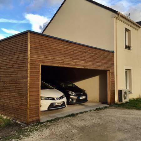 Garage en ossature bois par l'entreprise ML OSSATURE située a Quincy-Voisins 77860 (Île-de France)